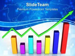 Growth energy bar graphs powerpoint templates green arrow success ppt process