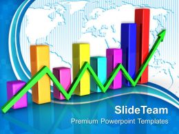 Growth Examples Of Bar Graphs Templates With Green Arrow Success Ppt Designs Powerpoint