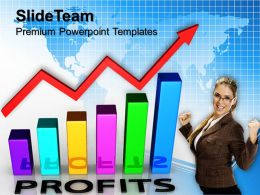 Growth graphing bar graphs powerpoint templates profit finance teamwork ppt theme