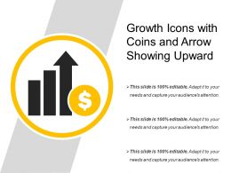 Growth Icons With Coins And Arrow Showing Upward