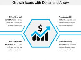 Growth Icons With Dollar And Arrow
