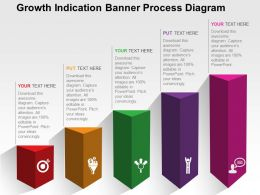 Growth Indication Banner Process Diagram Flat Powerpoint Design