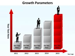 growth parameters using stacked boxes making a bar graph silhouette on top powerpoint templates