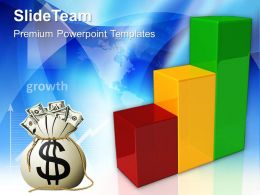 Growth pie charts and bar graphs templates with dollar marketing ppt layouts Powerpoint