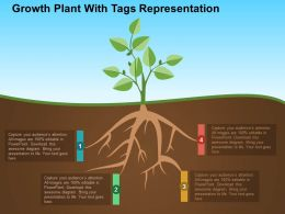 Growth Plant With Tags Representation Flat Powerpoint Design