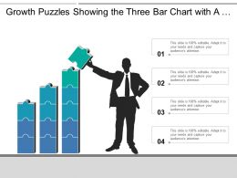 Growth Puzzles Showing The Three Bar Chart With A Silhouette Businessman