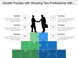 Growth Puzzles With Showing Two Professional With Handshaking