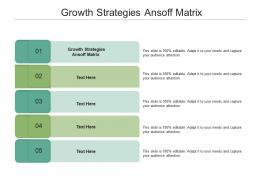 Growth Strategies Ansoff Matrix Ppt Powerpoint Presentation Outline Summary Cpb