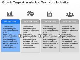 Growth Target Analysis And Teamwork Indication Powerpoint Template Slide