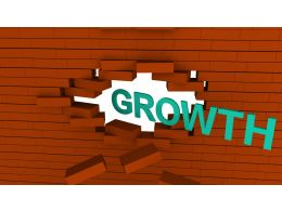 Growth Text Coming Out From Brick Wall Stock Photo
