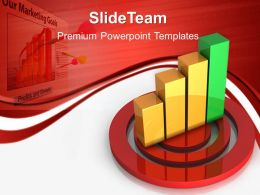 Growth vertical bar graphs templates target business success ppt slides Powerpoint