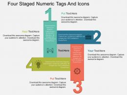 Gs Four Staged Numeric Tags And Icons Flat Powerpoint Design