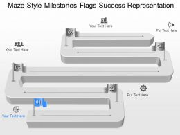 gs Maze Style Milestones Flags Success Representation Powerpoint Template