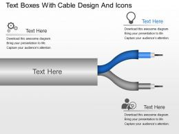 gt Text Boxes With Cable Design And Icons Powerpoint Template