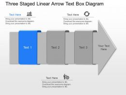 gt Three Staged Linear Arrow Text Box Diagram Powerpoint Template