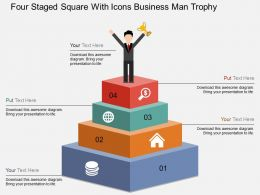 Gu Four Staged Square With Icons Business Man Trophy Flat Powerpoint Design