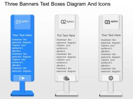 gu Three Banners Text Boxes Diagram And Icons Powerpoint Template