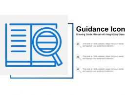 Guidance Icon Showing Guide Manual With Magnifying Glass