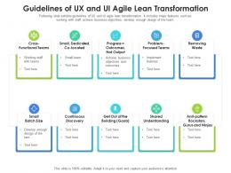 Guidelines Of UX And UI Agile Lean Transformation