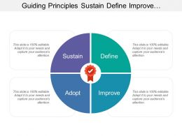 Guiding Principles Sustain Define Improve Adopt With Tick In Medal Image
