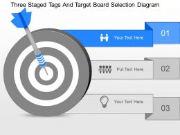 gw Three Staged Tags And Target Board Selection Diagram Powerpoint Template