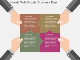 Gx Hands With Puzzle Business Deal Flat Powerpoint Design