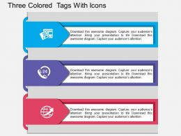 gx Three Colored Tags With Icons Flat Powerpoint Design