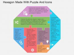 Gy Hexagon Made With Puzzle And Icons Flat Powerpoint Design