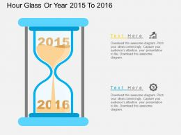Gy Hour Glass Or Year 2015 To 2016 Flat Powerpoint Design