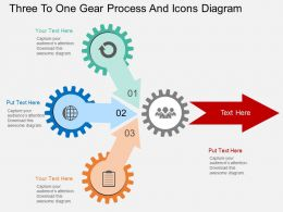 gy Three To One Gear Process And Icons Diagram Flat Powerpoint Design