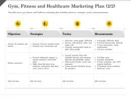 Gym Fitness And Healthcare Marketing Plan Measurements Ppt Powerpoint Presentation Gallery Brochure