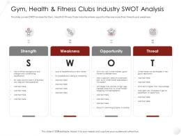 Gym Health And Fitness Clubs Industry SWOT Analysis Market Entry Strategy Ppt Topics