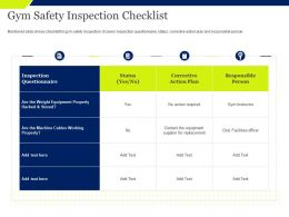 Gym Safety Inspection Checklist Cables Working Ppt Powerpoint Presentation Slide