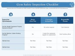 Gym Safety Inspection Checklist No Action Ppt Powerpoint Presentation Show Designs Download