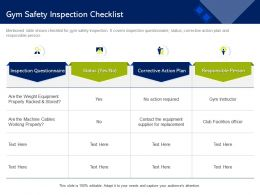 Gym Safety Inspection Checklist Properly Racked Ppt Powerpoint Presentation Portfolio Gallery