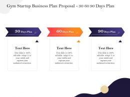 Gym Startup Business Plan Proposal 30 60 90 Days Plan Ppt Powerpoint Presentation Styles