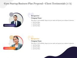 Gym Startup Business Plan Proposal Client Testimonials M2941 Ppt Powerpoint Presentation File