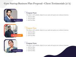 Gym Startup Business Plan Proposal Client Testimonials M2942 Ppt Powerpoint Presentation Ideas