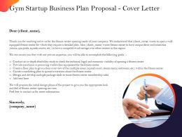 Gym Startup Business Plan Proposal Cover Letter Ppt Powerpoint Presentation Professional