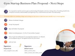 Gym Startup Business Plan Proposal Next Steps M2940 Ppt Powerpoint Presentation Display