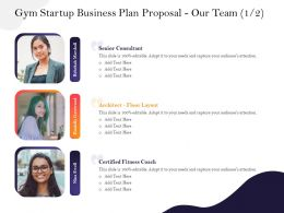 Gym Startup Business Plan Proposal Our Team M2943 Ppt Powerpoint Presentation Master Slide