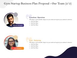 Gym Startup Business Plan Proposal Our Team M2944 Ppt Powerpoint Presentation Template Show