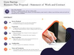 Gym Startup Business Plan Proposal Statement Of Work And Contract Ppt Powerpoint Slides Maker
