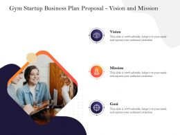 Gym Startup Business Plan Proposal Vision And Mission Ppt Powerpoint Presentation Styles