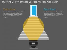 ha Bulb And Door With Stairs Success And Idea Generation Flat Powerpoint Design