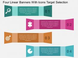 ha Four Linear Banners With Icons Target Selection Flat Powerpoint Design