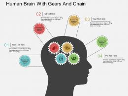 Ha Human Brain With Gears And Chain Flat Powerpoint Design