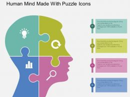 Ha Human Mind Made With Puzzle Icons Flat Powerpoint Design
