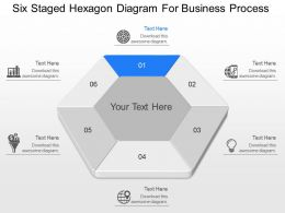 ha Six Staged Hexagon Diagram For Business Process Powerpoint Template