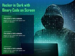 Hacker In Dark With Binary Code On Screen